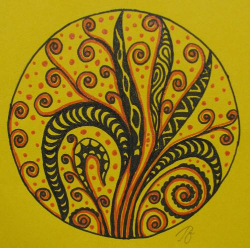 Přáníčko ve tvaru mandaly - rostlinné motivy
