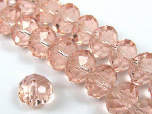 Broušený skleněný korálek růžový 8x6mm/4ks