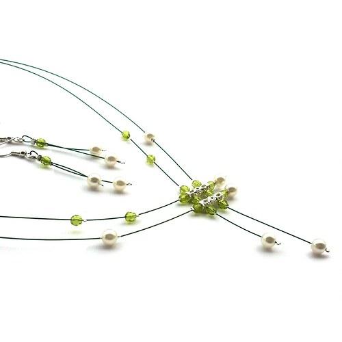 Světle zelenobílý deštík I. - náhrdelník