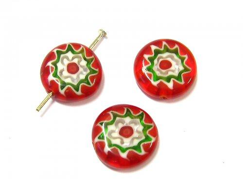 1100904/Placička Millefiori červená, 1 ks