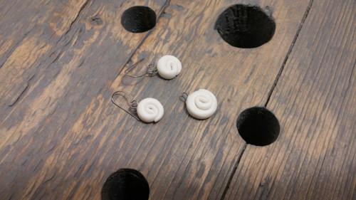 Porcelánové náušnice + přívěšek - šneci