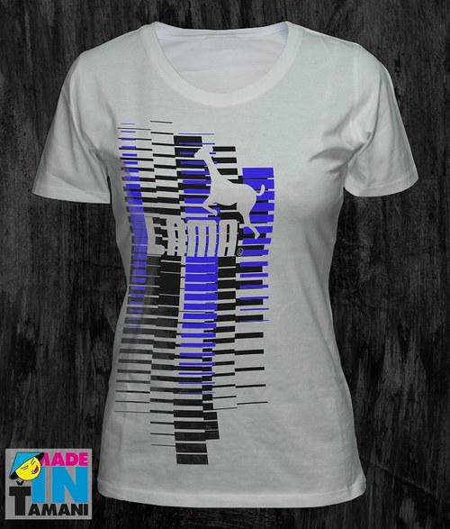 Dámské bílé tričko s Lamou velký potisk