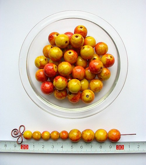 Mramorová kulička 14, žluto-červená, 5 ks, sleva