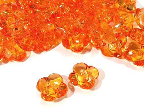 """Knoflík dětský 24\"""" Květinka - oranžový (5ks)"""