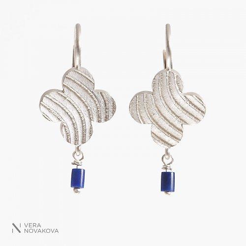 Náušnice čtyřlístky č. 6 - lápis lazuli, stříbro