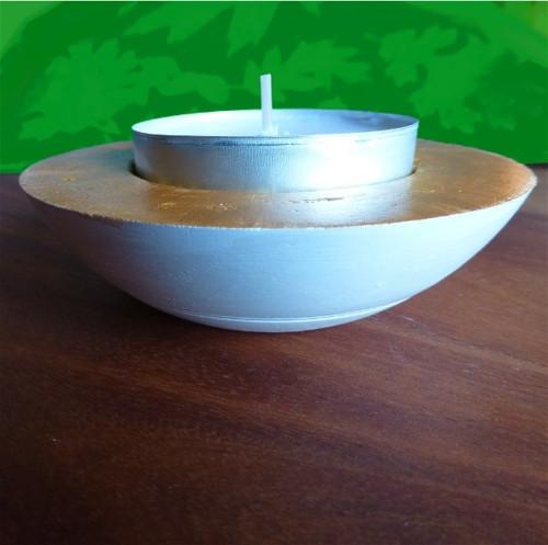 Zlatá miska na čajovou svíčku