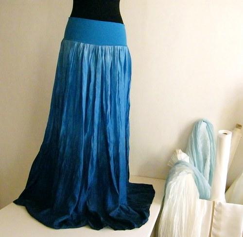 Modrá modřenka...dlouhá hedvábná sukně