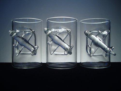 skleničky s letadlem CENA  za 1 ks