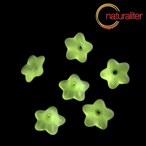 Květina akrylová 9mm zelená, 10ks