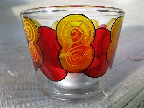 malovaný skleněný  svícen - spirálky
