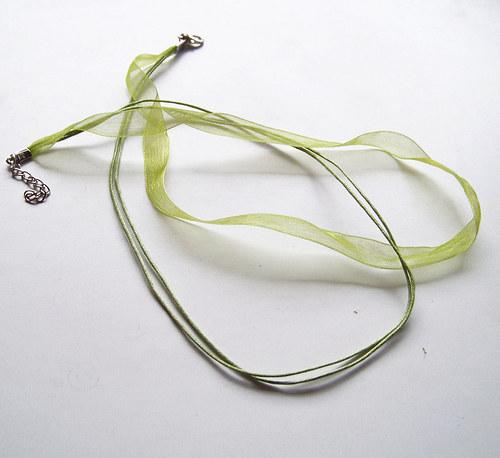organza šňůrka 2+1/ 45cm/ zelená / 1ks
