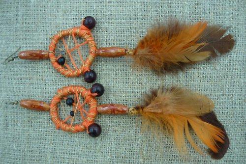 náušnice ve stylu indiánckých lapačů snů