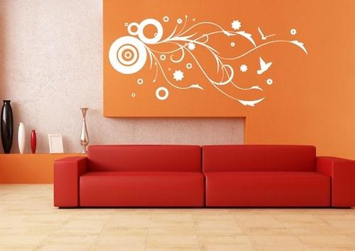 Samolepka - Vinoucí se keř s ptáčky (100 x 46 cm)