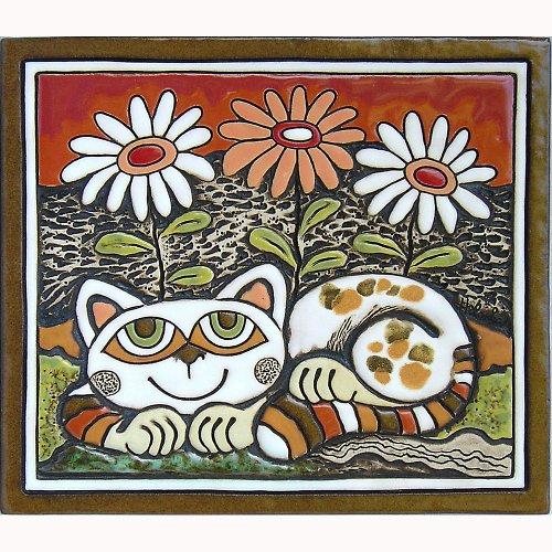 Keramický obrázek - Kočka a kopretiny K-123-CE