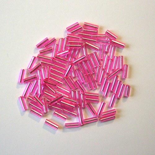 """Skleněné korálky - 3\"""" čípky růžové"""