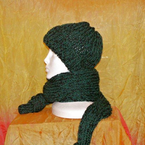 pletená souprava - čepice a šála - zelená s černou