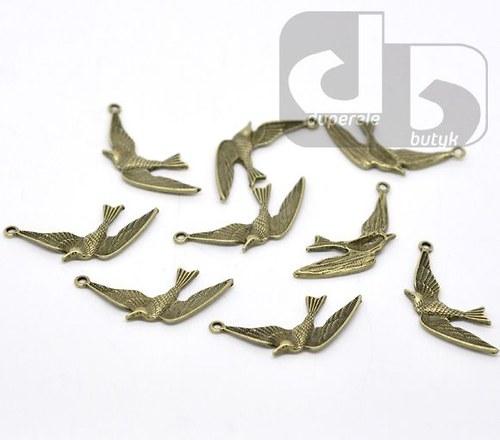Bronzový přívěšek - pták 35 x 20 mm/10 ks