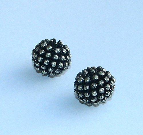 Černá akrylová kulička, stříbrně pokovená, 2ks