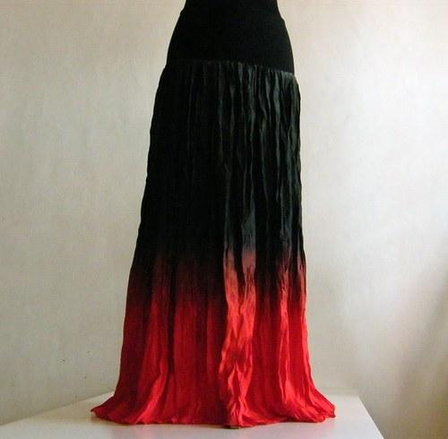 Černo červená - dlouhá hedvábná sukně