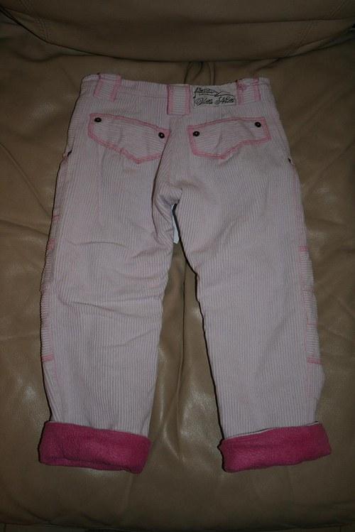 Růžové vyteplené kalhoty pro princezny