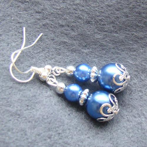 náušnice perličky modré