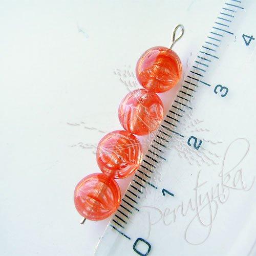 Kuličky 8 mm, 15 ks, barva průhledná s oranžovou kresbou
