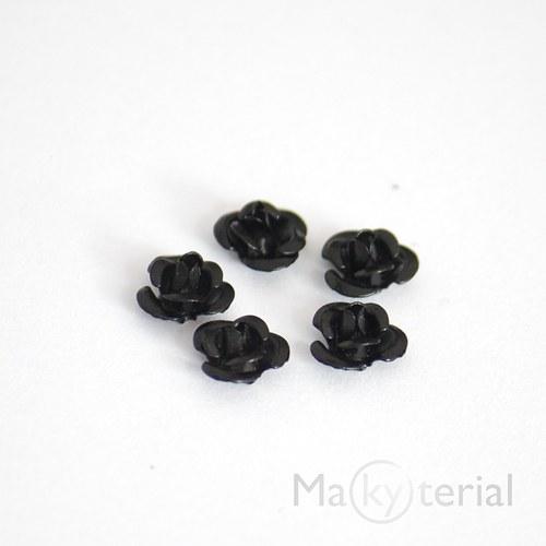 Kovová růžička -černá - 20 ks