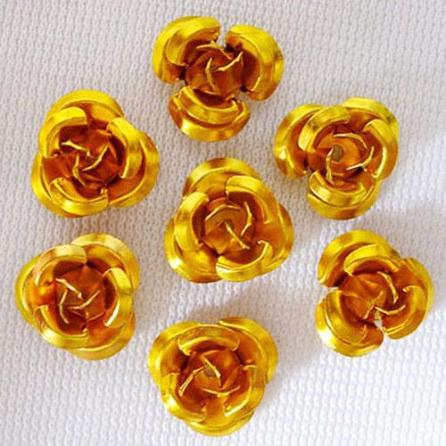 kovový korálek růže/ zlatá/ 10 mm/ 10ks