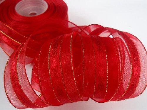 19215 Stuha organza dekorační červená/zlato 30mm
