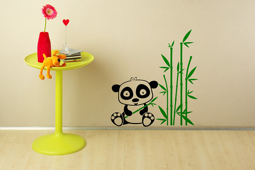 Panda a bambus (900x1000) - samolepka na zeď