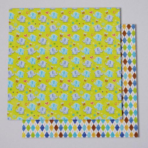 Glitrový scrapbook papír - Baby Boy 112