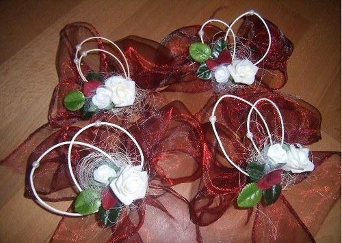 SVATBA - mašle na kliky auta nevěsty i ženicha