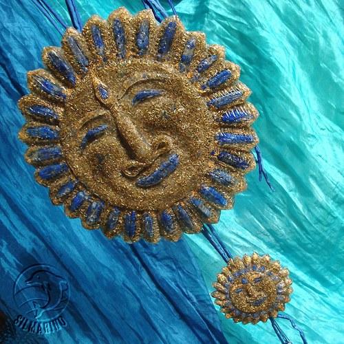 Slunce a sluníčko lazuritové - orgonit - souprava