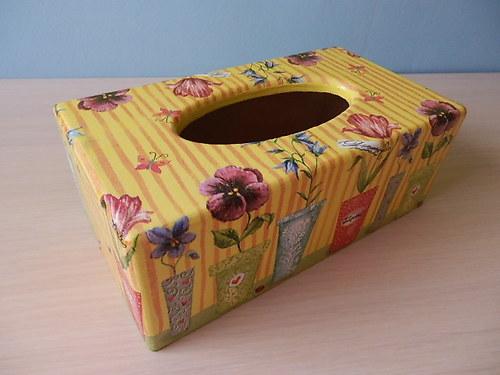 Krabička na kapesníky Zátiší Květiny v pruzích