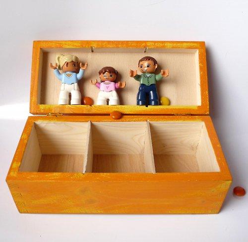 cestovní krabice na ponožky - oranžová s tulipány