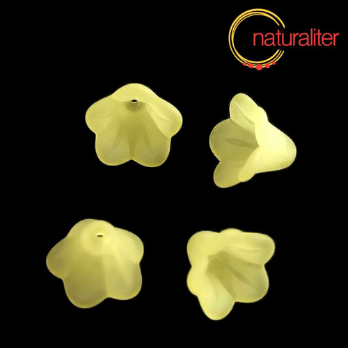 Květina akrylová - zvonek 14mm žlutá, 8ks