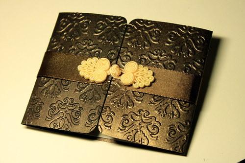 Luxusné svadobné oznámenie-perleťové čokoládové II