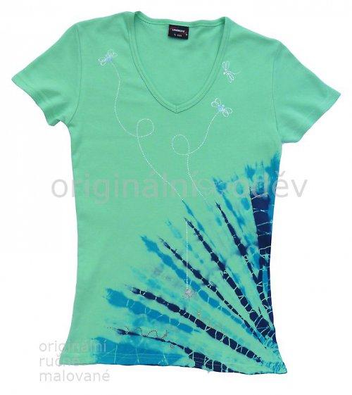 Batikované tričko dámské - v trávě
