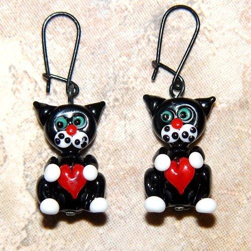 Valentýnské náušnice černé kočky