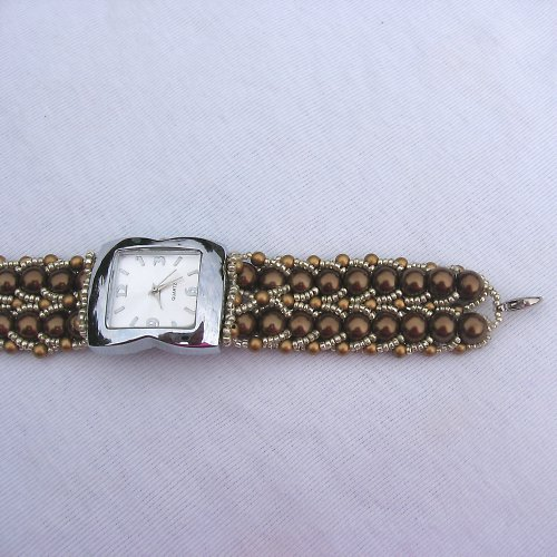 hodinky jako šperk - hnědá perla č.2