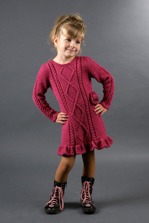 Popis - návod pletené dětské šaty Rosebud