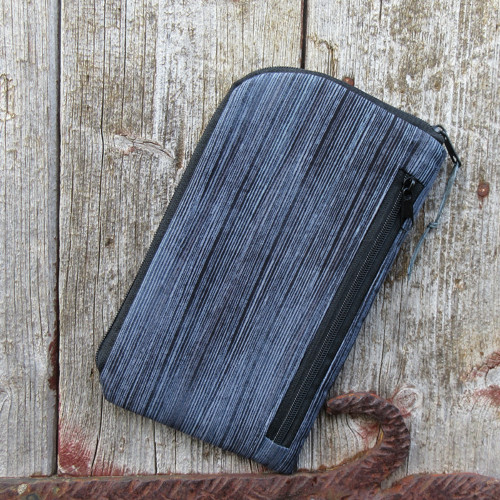 obal na mobil se zipem -základní -šedé  proužky