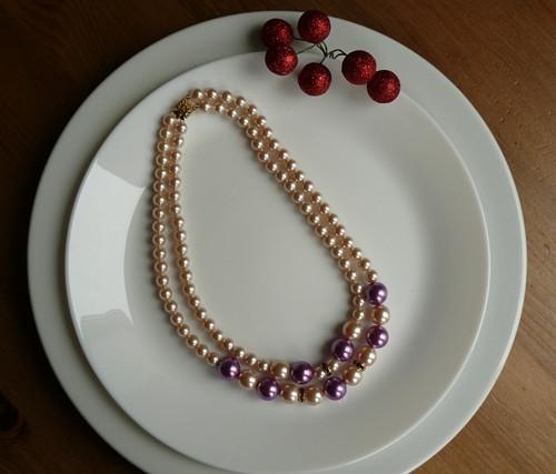 perlový náhrdelník - dvouřadý fialový