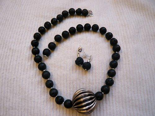 Lávový náhrdelník + náušnice  Ag925/1000