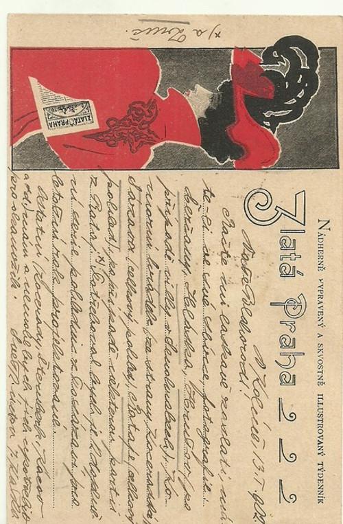 Dopisnice Zlatá Praha moda Kolín 1902 Secese