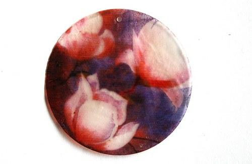 043 perleťové placky tenké - květy