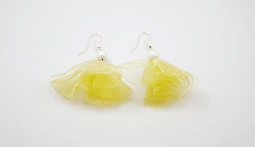 organzové náušnice žluté s korálkem