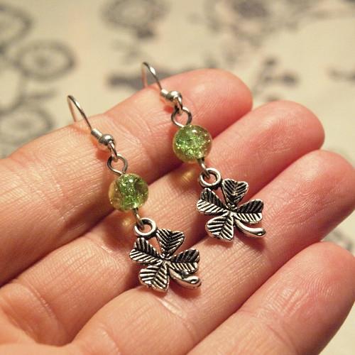 Náušnice - Zelenožluté čtyřlístky