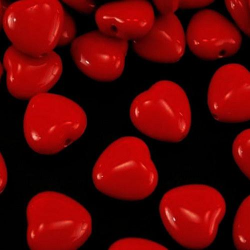 srdíčko akryl/ červené/ 13x13mm/ 10ks