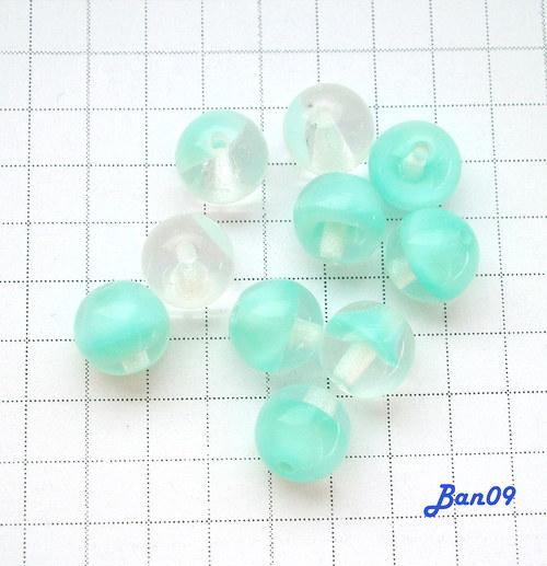 Kuličky tyrkys-čiré 5 mm